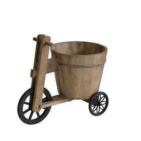 Wooden Trike Planter Holder, Brown