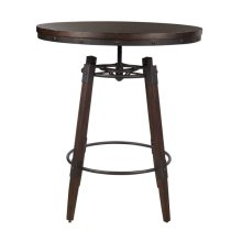 Vintage Industrial Style Adjustable Height Bar Table in Distressed Chocolate