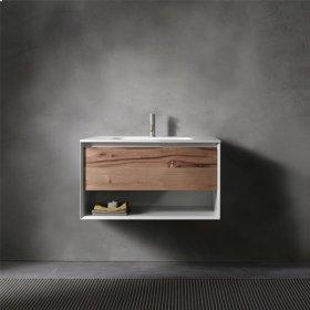 "45° UP series 700 vanity w/shelf, White Matte frame/Distressed Oak front; 27 1/2""w x 19""h x 20""d"