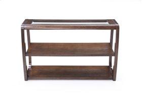 Emerald Home Regent Sofa Table W/glass Top and Wood Legs Dark Walnut T803-02