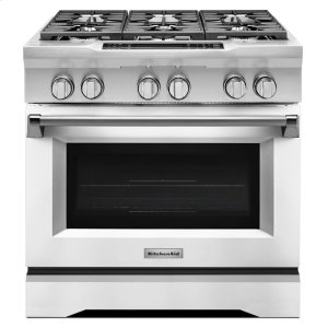KitchenAid36'' 6-Burner Dual Fuel Freestanding Range, Commercial-Style - Imperial White