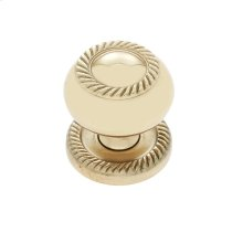 "Polished Brass 1-1/4"" Rope Knob w/Back Plate"