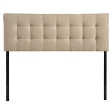 Lily Full Tufted Upholstered Fabric Headboard in Beige