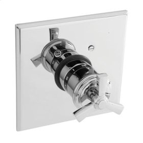 Weathered Brass Square Thermostatic Trim Plate with Handle