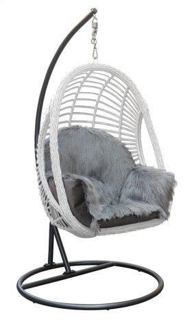 Basket With Cushion-kd Pole & Round Base-gray Fur#asf012 & Talica Platinum
