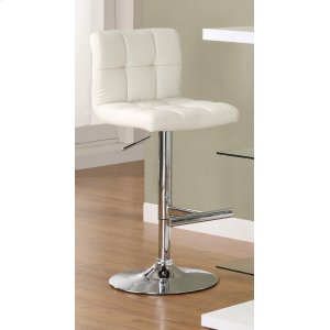 Contemporary White Adjustable Padded Back Bar Stool