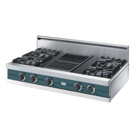 "Iridescent Blue 42"" Open Burner Rangetop - VGRT (42"" wide, four burners 12"" wide char-grill)"