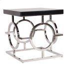 Stainless Steel End Table With Black Top Product Image