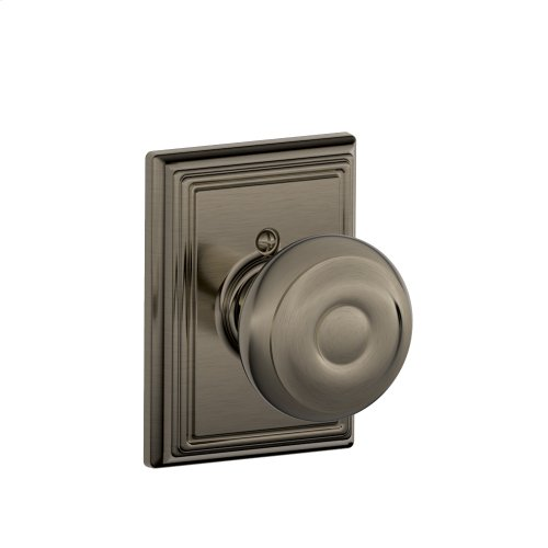 Georgian Knob with Addison trim Non-turning Lock - Antique Pewter