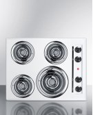 "24"" Wide 220v Electric Cooktop In White Porcelain Finish Product Image"