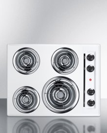"""24"""" Wide 220v Electric Cooktop In White With 4 Coil Elements"""