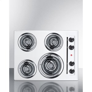 "Summit24"" Wide 220v Electric Cooktop In White With 4 Coil Elements"
