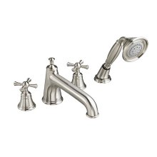 Randall Water Saving Deck Mount Bathtub Faucet with Hand Shower and Cross Handles - Brushed Nickel