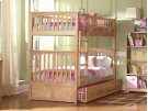 Columbia Bunk Bed Twin over Twin with Raised Panel Trundle Bed in Natural Product Image