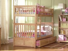Columbia Bunk Bed Twin over Twin with Raised Panel Trundle Bed in Natural