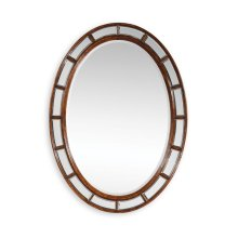 Walnut Framed Oval Panelled Mirror (Plain Glass)