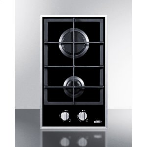 2-burner Gas-on-glass Cooktop With Sealed Burners and Cast Iron Grates -