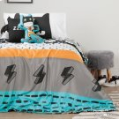 Superheroes Throw Pillows, 2- Pack - Black and Turquoise Product Image