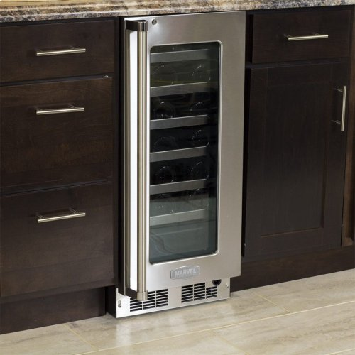 """Marvel Professional 15"""" High Efficiency Single Zone Wine Refrigerator - Stainless Frame, Glass Door With Lock - Integrated Left Hinge, Professional Handle"""