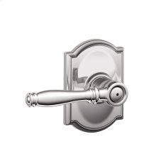 Birmingham Lever with Camelot trim Bed & Bath Lock - Bright Chrome