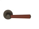 Tube Stitch Incombination Leather Door Lever In Chestnut And Vintange Patina Product Image