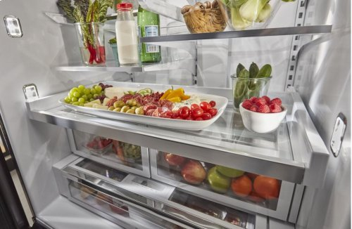 26.8 cu. ft. 36-Inch Width Standard Depth French Door Refrigerator with Exterior Ice and Water and PrintShield Finish - Black Stainless