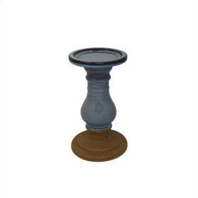 "Ceramic 8"" Candle Holder , Blue"