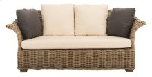 Oahu Wicker 2-seater Sofa - Grey Wash / Cream / Smokey Blue