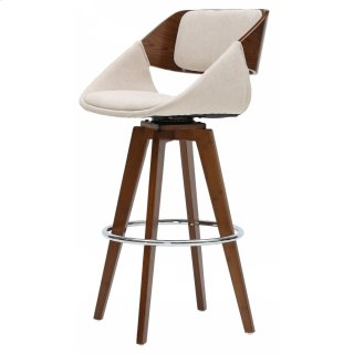 Cyprus KD Fabric Bar Stool, Santorini Sand/Walnut