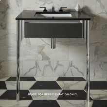 "Balletto 30-1/2"" X 7-1/2"" X 21-3/4"" Slim Drawer Vanity In Tinted Gray Mirror With Tip Out Drawer and Legs In Brushed Black"