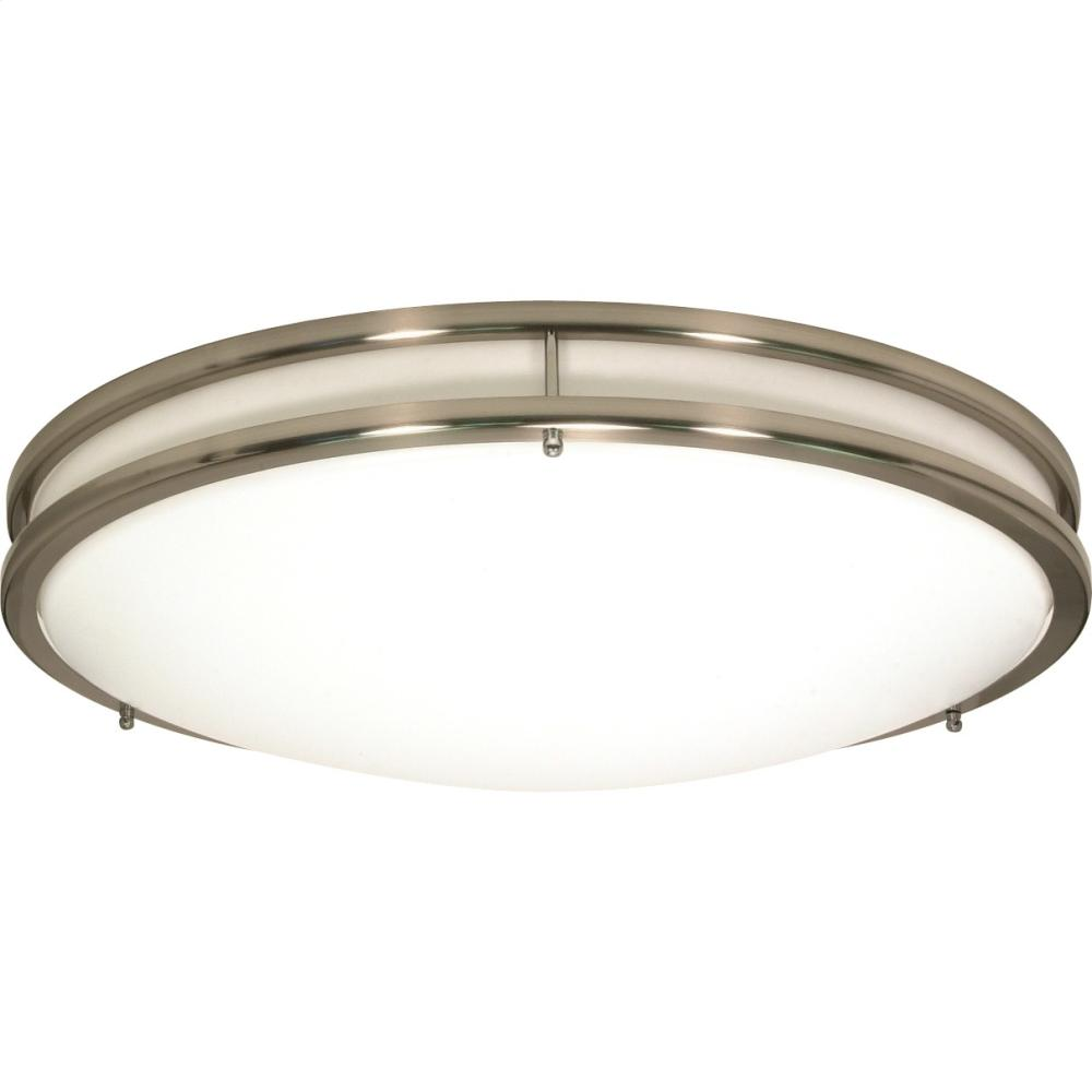 3-Lights Medium Round Flush Mount Ceiling Light in White Finish with Brushed Nickel Trim and (3) 18W GU24 Bulbs Included