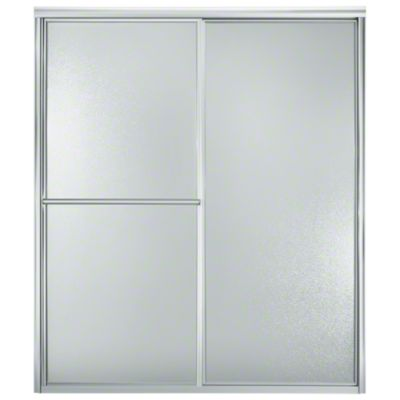 """Deluxe Sliding Shower Door - Height 70"""", Max. Opening 56"""" - Silver with Pebbled Glass Texture"""