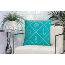 "Outdoor Pillow L1504 Turqois Green 20"" X 20"" Throw Pillow"