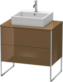 Vanity Unit For Console Floorstanding, Olive Brown High Gloss Lacquer