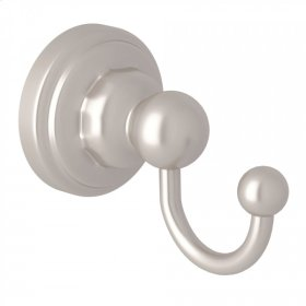 Satin Nickel Perrin & Rowe Edwardian Wall Mount Single Robe Hook