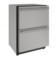 """2000 Series 24"""" Solid Refrigerator Drawers With Stainless Solid Finish and Drawers Door Swing (115 Volts / 60 Hz)"""