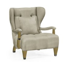 Modern Winged Natural Oak Occasional Chair, Upholstered in MAZO