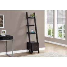 "BOOKCASE - 69""H / CAPPUCCINO LADDER W/ STORAGE DRAWER"