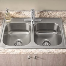 Colony ADA 33x22 Double Bowl Kitchen Sink Kit  American Standard - Stainless Steel