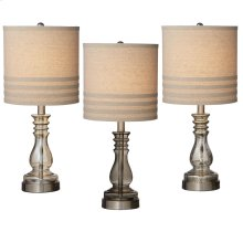 Glass Accent Lamp with Linen Striped Shade (3 asstd). 60W Max
