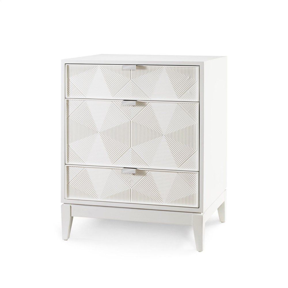 Borneo 3-Drawer Side Table, White