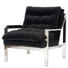 Nickel Plated Arm Chair W. Black Velvet Cushions Product Image