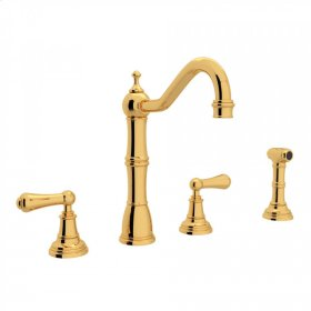 English Gold Perrin & Rowe Edwardian 4-Hole Kitchen Faucet With Sidespray with Metal Lever