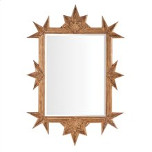 Cast Resin Rinconada Mirror in Rubbed Gold Leaf with Star Decor, Beveled Glass