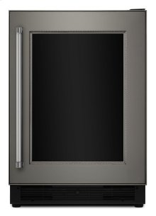 """24"""" Beverage Center with Glass Door and Wood-Front Racks - Panel Ready"""