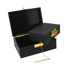 S/2 Wood Storage Boxes, Black