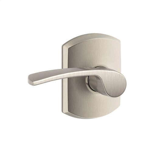 Merano lever with Greenwich trim Hall & Closet lock - Satin Nickel