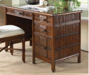 Tahiti Rattan & Bamboo Desk with glass in Antique Finish Product Image