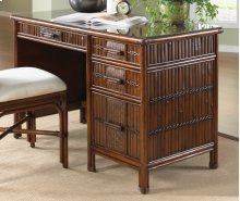 Tahiti Rattan & Bamboo Desk with glass in Antique Finish