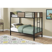 BUNK BED - TWIN / TWIN SIZE / DARK TAUPE / BLACK METAL